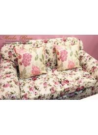 โซฟาอาร์มแชร์ผู้ใหญ่ 2 ที่นั่ง ขนาดมาตรฐาน ลายดอกกุหลาบสีชมพูอมม่วง ตัวเบาะสามารถถอดซักได้ ขนาด 140x75x75 ซม.