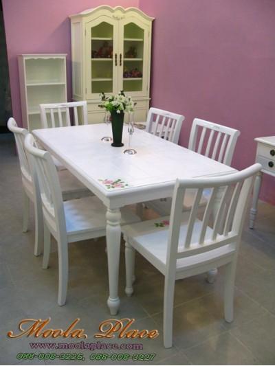 โต๊ะรับประทานอาหาร สีขาวสไตล์วินเทจ เพ้นลายกุหลาบ ขนาด 160 x 90 x 75