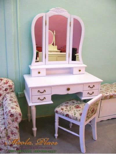 โต๊ะเครื่องแป้ง สีขาว สไตล์วินเทจ  ตัวกระจกแกะลาย ขนาด 1 เมตร พร้อมสตูลเจ้าหญิง