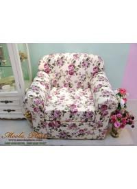 โซฟาอาร์มแชร์ผู้ใหญ่ 1 ที่นั่ง ไซส์มาตรฐาน ลายดอกกุหลาบสีชมพูอมม่วง เบาะสามารถถอดซักได้ ขนาด 90x77x76 ซม.