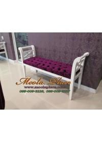 เก้าอี้ยาว/สตูลปลายเตียง หุ้มกำมะหยี่ เย็บกระดุม ขนาด 140x40x73  สามารถเลือกเปลี่ยนผ้าหุ้มเบาะได้