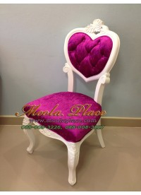 เก้าอี้ขาสิงห์หลุยส์ ทรงหัวใจ ไม้สัก แกะลายสวยงาม บุผ้ากำมะหยี่ สามารถเลือกเปลี่ยนสีผ้าได้