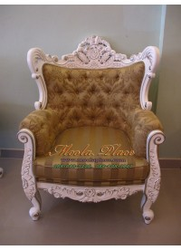 โซฟาหลุยส์โอบกุหลาบใหญ่ขนาด 1 ที่นั่ง ไม้สัก แกะลายสวยงาม ทำสีขาวเดินเงิน ดึงกระดุมฃลูกค้าสามารถเลือกเปลี่ยนผ้าหรือหนังในการหุ้มได้