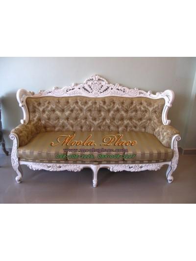 โซฟาหลุยส์โอบกุหลาบใหญ่ขนาด 3 ที่นั่ง ไม้สัก แกะลายสวยงาม ทำสีขาวเดินเงิน ดึงกระดุม ลูกค้าสามารถเลือกเปลี่ยนผ้าหรือหนังในการหุ้มได้
