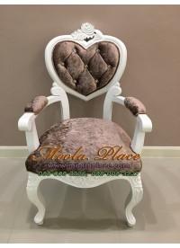 เก้าอี้หลุยส์ลายแคทรียา ไม้สัก  แกะลายสวยงาม แบบมีท้าวแขน