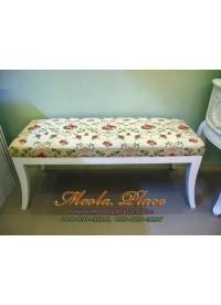 เก้าอี้ยาว/สตูลปลายเตียง บุผ้าผ้าลายดอก ขนาด 120 ซม.