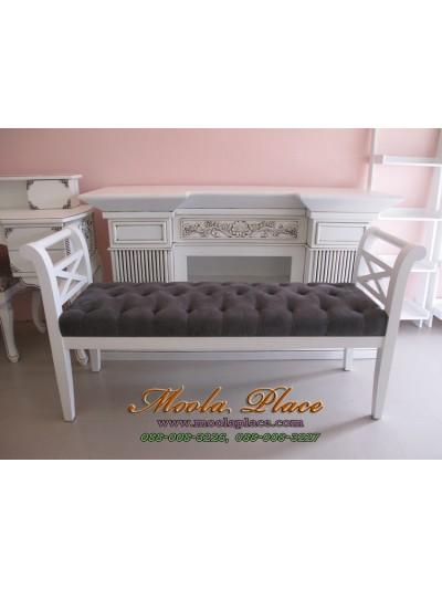 เก้าอี้ยาว/สตูลปลายเตียง หุ้มกำมะหยี่หนังกลับ เย็บกระดุม ขนาด 140x40x73  สามารถเลือกเปลี่ยนผ้าหุ้มเบาะได้