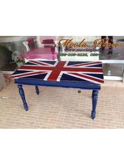 โต๊ะกลางขากลึงทำสีขัดถลอกลายธงชาติอังกฤษ ขนาด 90 x 45 x 50 ซม.