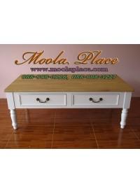 โต๊ะกลางชุดรับแขก 2 ลิ้นชัก ท๊อปสีธรรมชาติ ตัวโต๊ะสีขาว ขนาด 120x60x สูง 45 ซม.
