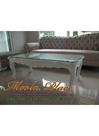 โต๊ะกลางหลุยส์หลุยส์รับแขก ไม้สัก แกะลายสวยงาม สีพ่นขาว ขนาด กว้าง 120 ลึก 60 สูง 43 ซม. (ราคาไม่รวมกระจก)