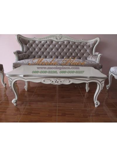 โต๊ะกลางสไตล์วินเทจหลุยส์ ไม้สัก แกะลายสวยงาม ทำสีขาวหรือครีม เดินเส้นสีเงิน ขนาด กว้าง 120 ลึก 60 สูง 43 ซม. สามารถทำสีได้ตามลูกค้าต้องการ