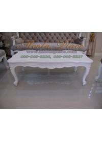 โต๊ะกลางสไตล์วินเทจหลุยส์ ไม้สัก แกะลายสวยงาม สีพ่นขาว ขนาด กว้าง 120 ลึก 60 สูง 43 ซม. สามารถทำสีได้ตามลูกค้าต้องการ