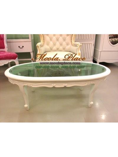 โต๊ะกลางวงรีหลุยส์ แกะลายสวยงาม Top กระจกสีเขียวตัดแสง ขนาด กว้าง 120 ลึก 60 สูง 40 ซม.