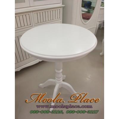 โต๊ะวงกลม ทำสีขาว ขนาด เส้นผ่าศูนย์กลาง 60 ซม สูง 75 ซม.