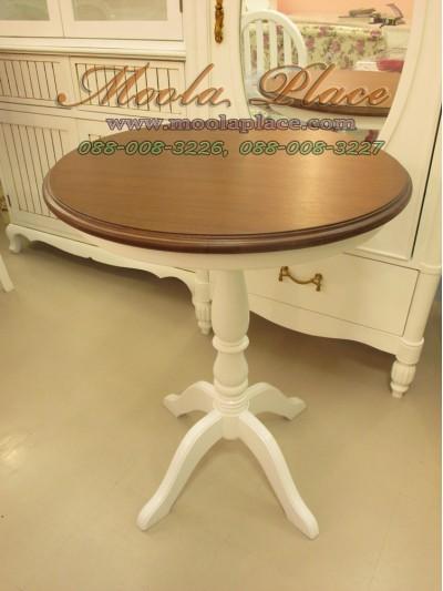 โต๊ะวงกลม ทำสีขาวท็อปสีน้ำตาล ขนาด เส้นผ่าศูนย์กลาง 60 ซม สูง 75 ซม.