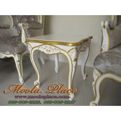 โต๊ะข้างหลุยส์ไม้สักแคทรียา ทำสีขาวเดินทอง แกะสลักลาย สไตล์วินเทจ ขนาด 50x50x50 ซม.