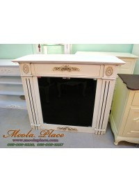 ชั้นวางทีวีทรงเตาผิง พร้อมกระจกสีชา ขนาด ก 120 x ล 50 x ส 100 ซม. ทำสีสไตล์วินเทจให้ดูเก่า สามารถทำได้ตามขนาดที่ลูกค้าต้องการ
