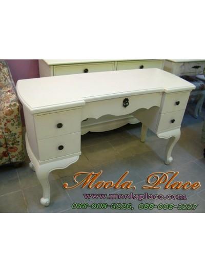 โต๊ะทำงานสไตล์วินเทจ ขาสิงห์ลูกแก้วแกะลายสวยงาม 5 ลิ้นชัก  ขนาด 120  x 50 x 75 ซม.