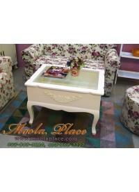 โต๊ะกลางท็อปกระจก แปะลายแกะดอกไม้ ขนาด 75 x 60 x 50 ซม. สามารถเปิดเก็บของได้