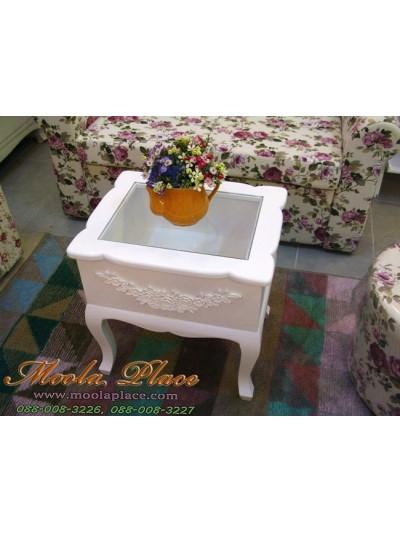 โต๊ะกลาง / โต๊ะข้าง ท็อปกระจก แปะลายแกะดอกไม้ ขนาด 50 x 40 x 50 ซม.