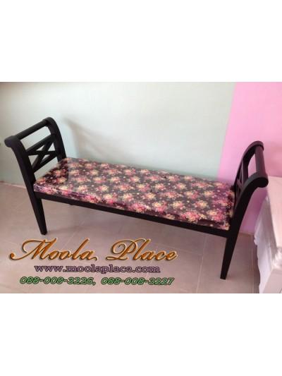 เก้าอี้ยาว/สตูลปลายเตียง สีพ่นดำ ขนาด 140 x 40 x 73 ซม. พร้อมเบาะนั่ง สามารถเลือกเปลี่ยนผ้าหุ้มเบาะได้