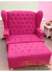 โซฟา Wing Chair สไตล์วินเทจ ผลิตจากผ้ากำมะหยี่นำเข้าอย่างดี พร้อมที่วางเท้า ขนาด กว้าง 120  x ลึก 85 x สูง 110 สามารถเปลี่ยนสีและลายผ้าได้