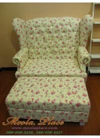 โซฟา Wing Chair สไตล์วินเทจ หุ้มผ้าลายดอก พร้อมที่วางเท้า ขนาด กว้าง 120  x ลึก 85 x สูง 110 สามารถเลือกเปลี่ยนลายผ้าได้
