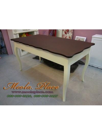 โต๊ะรับประทานอาหาร สไตล์วินเทจ ท๊อปทำสีโอ๊คเข้ม ขนาด 160 x 80 x 75  ซม.