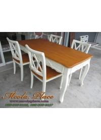 โต๊ะรับประทานอาหาร สไตล์วินเทจ ท๊อปทำสีไม้ มีลิ้นชัก 4 ลิ้นชักรอบโต๊ะ ขนาด 160 x 90 x 75 ซม.