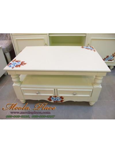 โต๊ะกลาง 2 ลิ้นชัก เพ้นท์ลาย สไตล์วินเทจ ขนาด 90x60x50 ซม.
