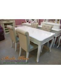 โต๊ะรับประทานอาหาร ลิ้นชักหลอก 4 ลิ้นชัก สีขาวสไตล์วินเทจ ขนาด 160 x 90 x 75  ซม.