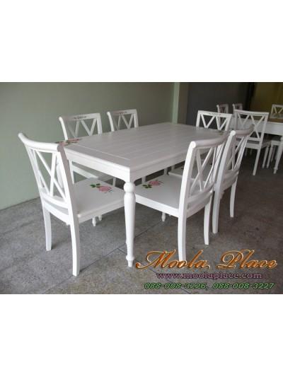 โต๊ะรับประทานอาหาร สีขาวสไตล์วินเ เพ้นลายกุหลาบ ขนาด 160 x 90 x 75