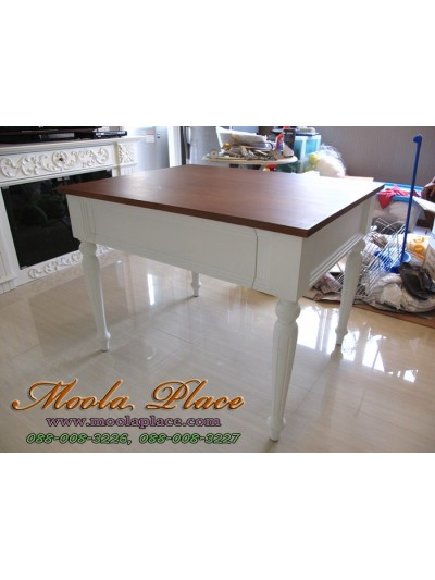 โต๊ะรับประทานอาหารขากลึงเซาะร่อง 1 ลิ้นชัก สไตล์วินเทจ ท๊อปทำสีโอ๊คเข้ม ขนาด 100 x 80 x 75  ซม.