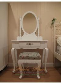โต๊ะเครื่องแป้ง สีขาว สไตล์วินเทจ ขนาด 80x40x75 ซม. (พร้อมสตูลขาสิงห์)