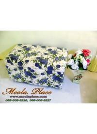 สตูลขนาด 2 ที่นั่ง  ลายดอกสีน้ำเงิน  สามารถเปิดเก็บของได้