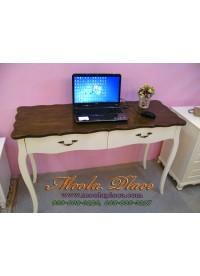 โต๊ะทำงาน 2 ลิ้นชัก ท็อปไม้สีน้ำตาลวอลนัท ขนาด 120  x 50 x 75 ซม.