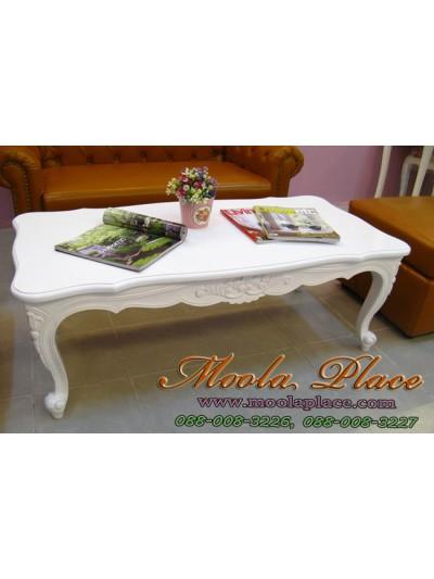 โต๊ะกลางสไตล์วินเทจหลุยส์ แกะลายสวยงาม ขนาด กว้าง 120 ลึก 60 สูง 43 ซม. สามารถทำสีได้ตามลูกค้าต้องการ