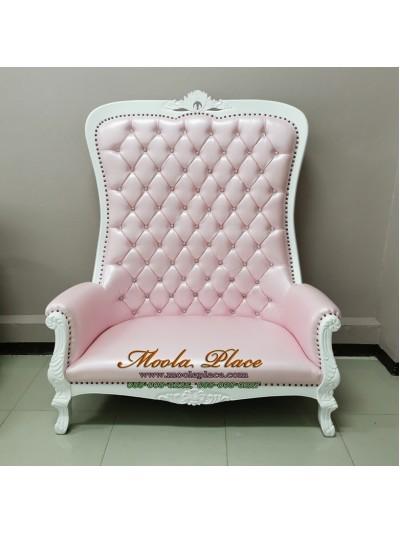 เก้าอี้โซฟาหลุยส์แกะสลัก พนักพิงสูง 175 ซม. เย็บกระดุมตอกหมุด สามารถเปลี่ยนสีโครงสีผ้าได้