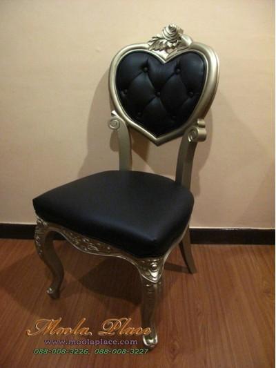 เก้าอี้ขาสิงห์หลุยส์ ทรงหัวใจ ไม้สัก แกะลายสวยงาม ทำสีบอร์น บุหนัง PU สามารถเลือกเปลี่ยน สีหนัง สีผ้าได้