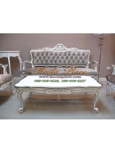 โต๊ะกลางสไตล์วินเทจหลุยส์รับแขก ไม้สัก แกะลายสวยงาม ทำสีขาวหรือครีม เดินเส้นสีเงิน ขนาด กว้าง 120 ลึก 60 สูง 43 ซม. สามารถทำสีได้ตามลูกค้าต้องการ