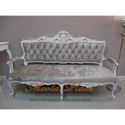 โซฟาหลุยส์หลุยส์รับแขก ไม้สัก 3 ที่นั่ง ทำสีขาวเดินเงิน  บุกำมะหยี่ แกะสลักลายสวยงาม