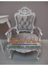 โซฟาหลุยส์หลุยส์รับแขก ไม้สัก 1 ที่นั่ง ทำสีขาวเดินเงิน  บุกำมะหยี่ แกะสลักลายสวยงาม