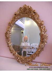 กรอบกระจกแกะลายกุหลาบสไตล์วินเทจ ขนาด 89 x 67 ซม. สีพ่นทอง