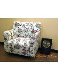 เก้าอี้โซฟาอาร์มแชร์  ขาไม้ บุผ้าลายดอกสไตล์วินเทจ