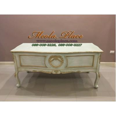 โต๊ะทำงานแกะสลักลายหลุยส์ ขนาด 150 *70 สูง 75 ซม ทำสีสไตล์วินเทจ