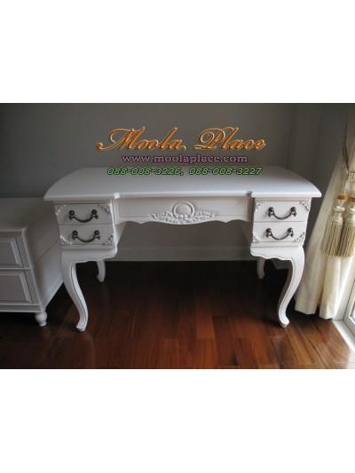 โต๊ะทำงานขาสิงห์ 5 ลิ้นชัก แกะลายลิ้นชักและข้างโต๊ะ ขนาด 120  x 55 x 75 ซม.