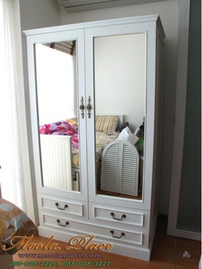 ตู้เสื้อผ้าสไตล์วินเทจ บานกระจกคู๋ ขนาด 120 x 60 x 200 ซม.