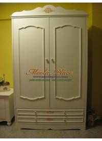 ตู้เสื้อผ้าสไตล์วินเทจ เพ้นท์ลายกุหลาบ ขนาด 120 x 60 x 200 ซม.