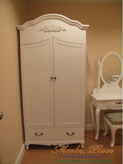ตู้เสื้อผ้าทรงโค้งแกะลายกุหลาบ ขนาด 100 x 60 x 200 ซม.