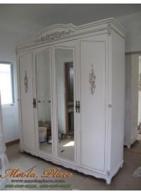 ตู้เสื้อผ้าสไตล์วินเทจทรงโค้งแกะลาย บานหน้าติดกระจก ขนาด 200 x 60 x 240 ซม.